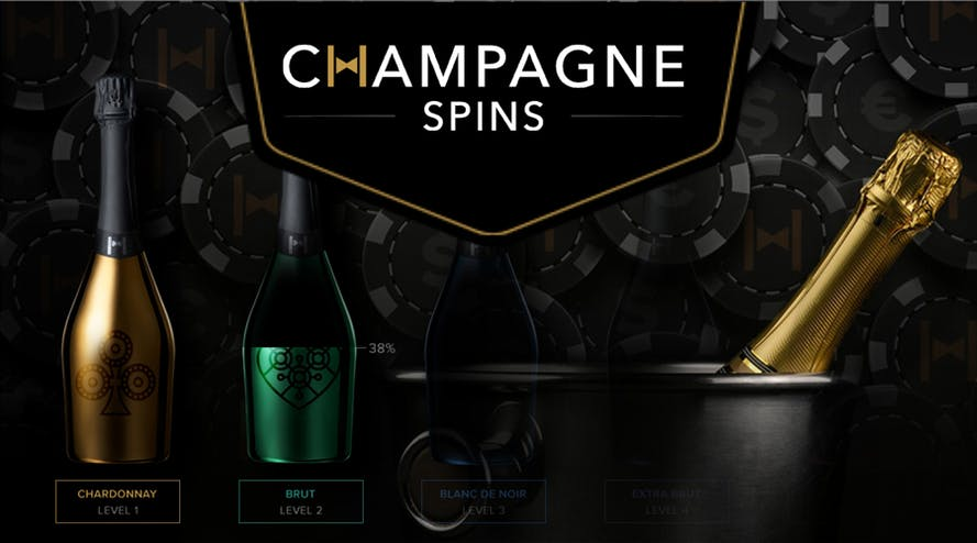 Champagne Spins casino rewards the first four deposits