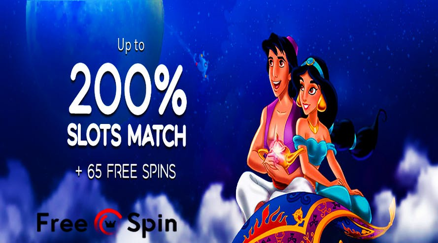 Every month Aladdin and Jasmine can fly you a bonus over 200% and 65 free spins