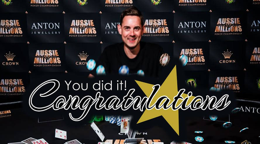This year event number 8: Toby Lewis became a triple winner of Aussie Millions