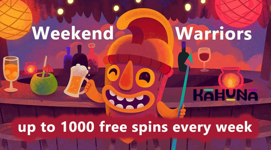 Get up to 1000 free spins every weekend with Kahuna Casino