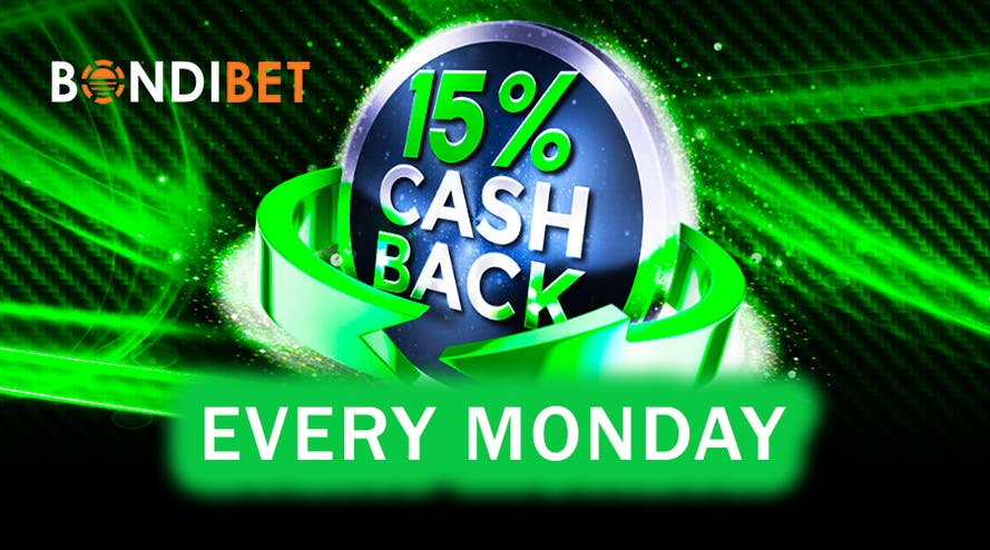 Bondibet casino offers 15% cashback every Monday