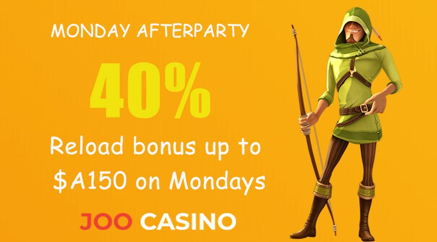 Joo Casino offers a 40% reload bonus up to $A150 on Mondays