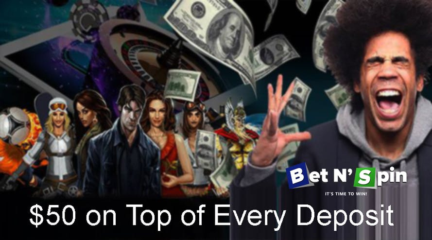 The BetNSpin online casino offers the Daily Reload promotion up to $50