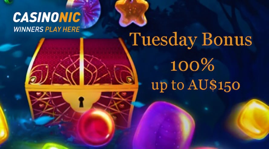 Tuesday 100% up to A$150 bonus promotion with Casinonic